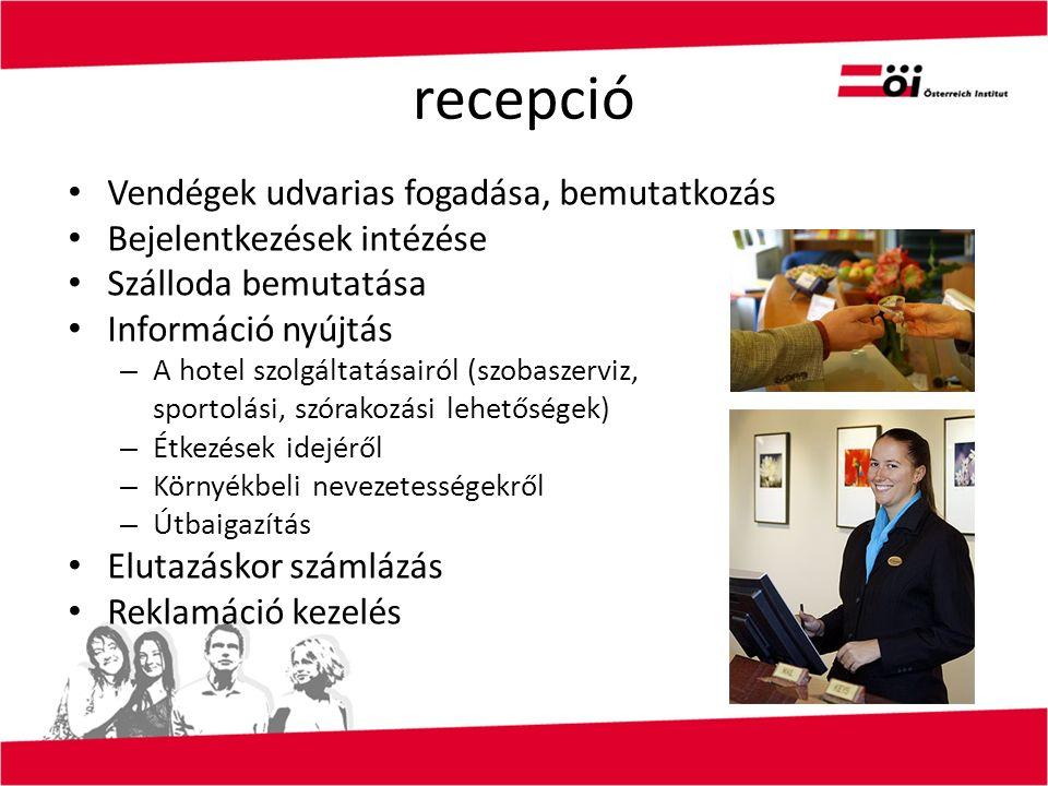 recepció Vendégek udvarias fogadása, bemutatkozás Bejelentkezések intézése Szálloda bemutatása Információ nyújtás – A hotel szolgáltatásairól (szobaszerviz, sportolási, szórakozási lehetőségek) – Étkezések idejéről – Környékbeli nevezetességekről – Útbaigazítás Elutazáskor számlázás Reklamáció kezelés