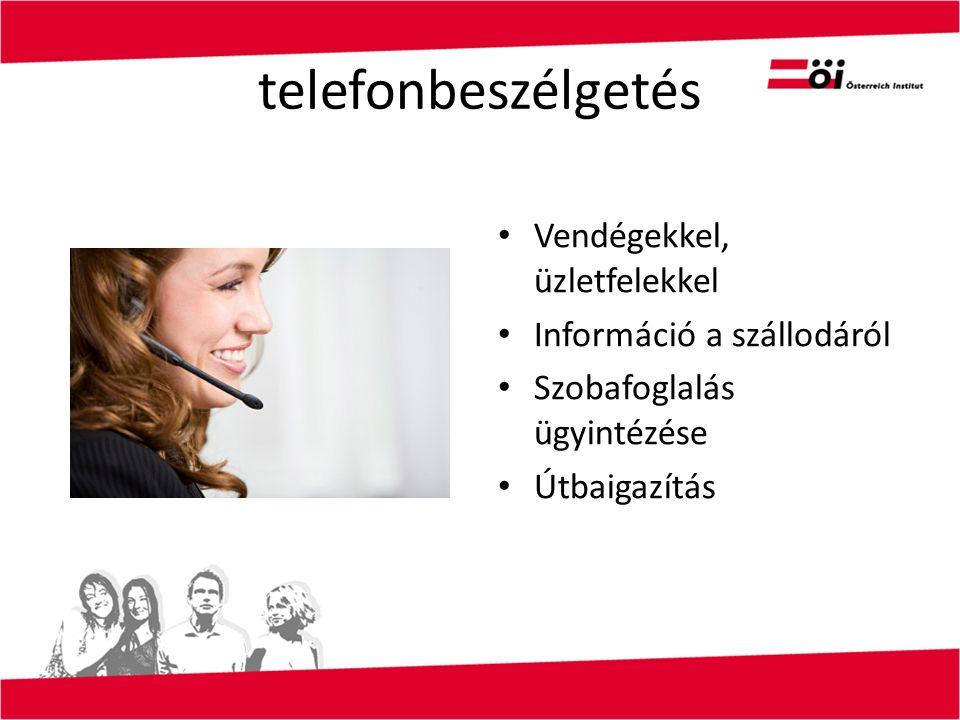 telefonbeszélgetés Vendégekkel, üzletfelekkel Információ a szállodáról Szobafoglalás ügyintézése Útbaigazítás