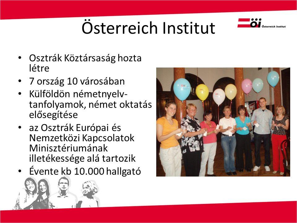 Österreich Institut Osztrák Köztársaság hozta létre 7 ország 10 városában Külföldön németnyelv- tanfolyamok, német oktatás elősegítése az Osztrák Európai és Nemzetközi Kapcsolatok Minisztériumának illetékessége alá tartozik Évente kb 10.000 hallgató