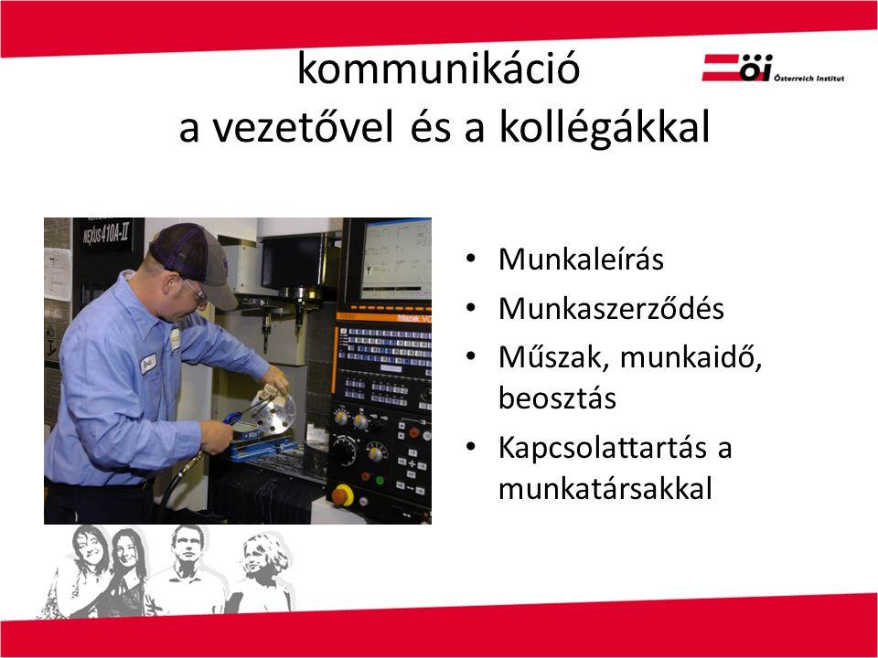 kommunikáció a vezetővel és a kollégákkal Munkaleírás Munkaszerződés Műszak, munkaidő, beosztás Kapcsolattartás a munkatársakkal