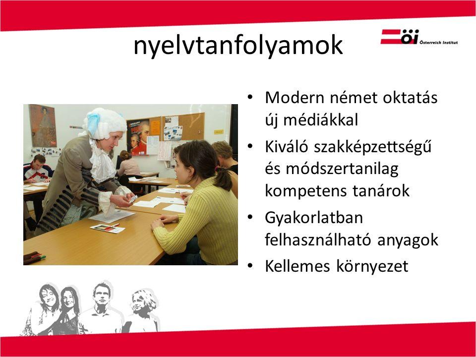 nyelvtanfolyamok Modern német oktatás új médiákkal Kiváló szakképzettségű és módszertanilag kompetens tanárok Gyakorlatban felhasználható anyagok Kellemes környezet
