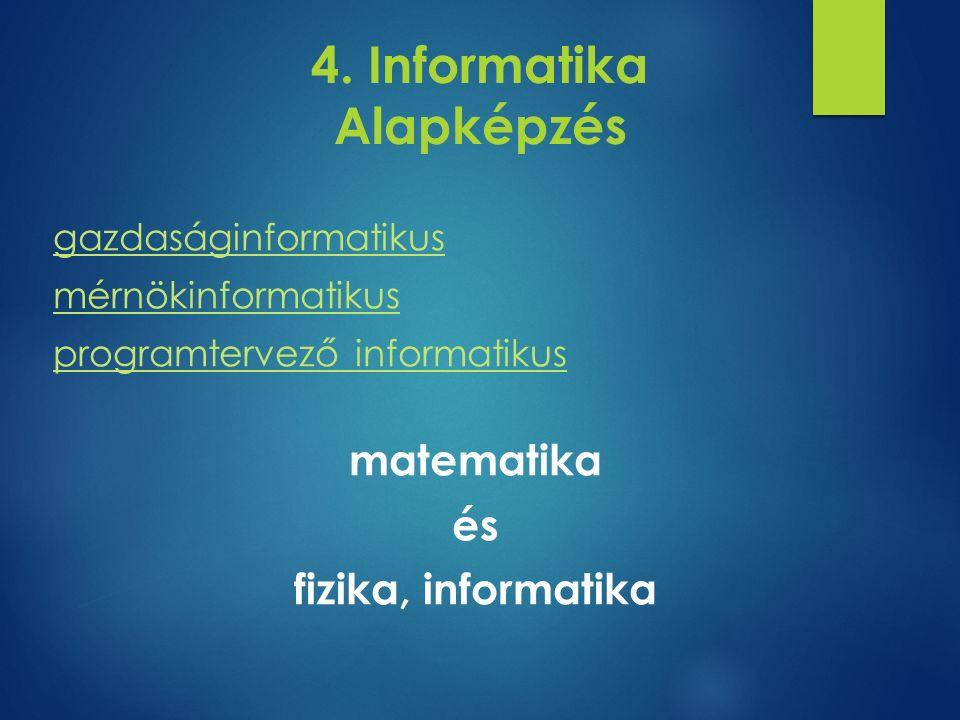 4. Informatika Alapképzés gazdaságinformatikus mérnökinformatikus programtervező informatikus matematika és fizika, informatika