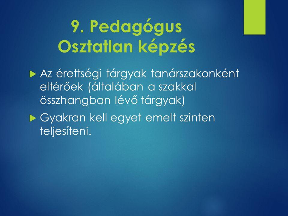 9. Pedagógus Osztatlan képzés  Az érettségi tárgyak tanárszakonként eltérőek (általában a szakkal összhangban lévő tárgyak)  Gyakran kell egyet emel