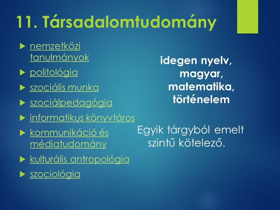 11. Társadalomtudomány  nemzetközi tanulmányok nemzetközi tanulmányok  politológia politológia  szociális munka szociális munka  szociálpedagógia