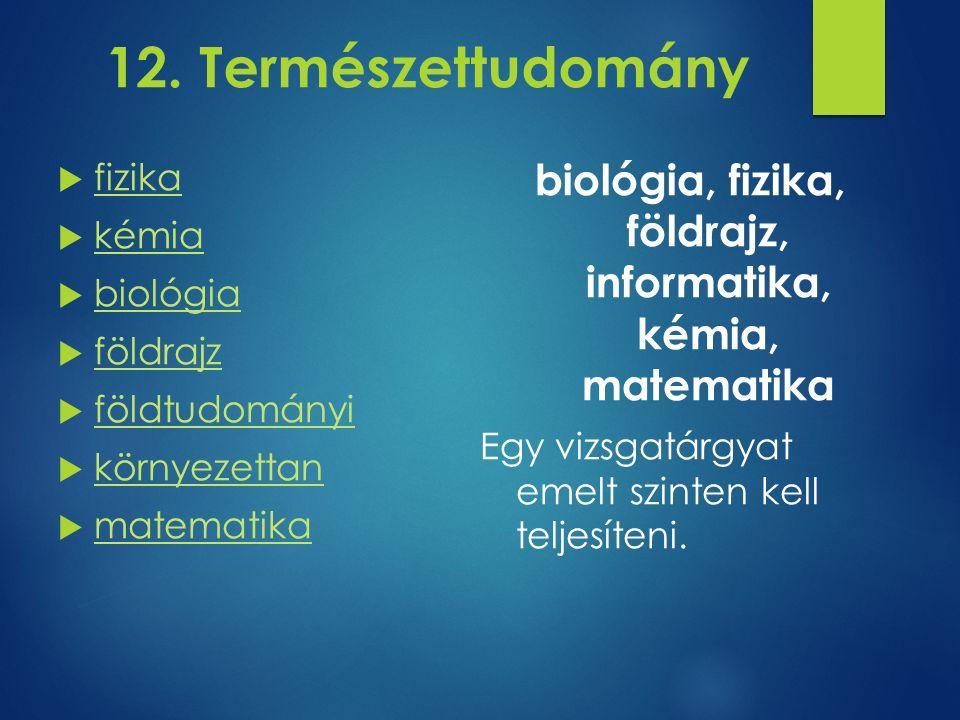 12. Természettudomány  fizika fizika  kémia kémia  biológia biológia  földrajz földrajz  földtudományi földtudományi  környezettan környezettan
