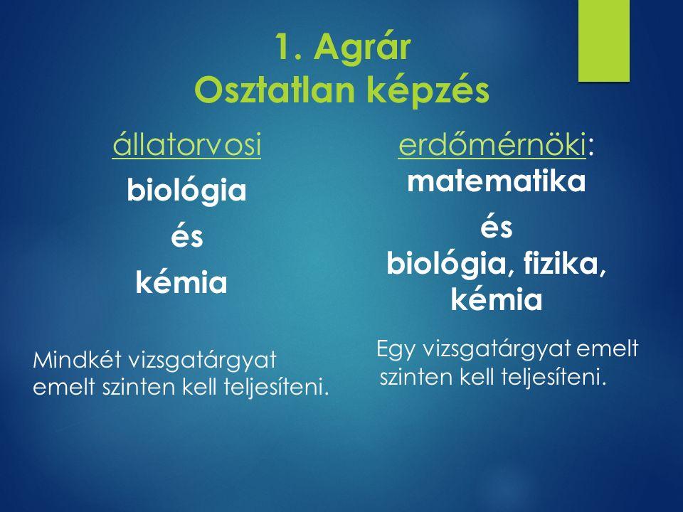 1. Agrár Osztatlan képzés állatorvosi biológia és kémia Mindkét vizsgatárgyat emelt szinten kell teljesíteni. erdőmérnökierdőmérnöki: matematika és bi