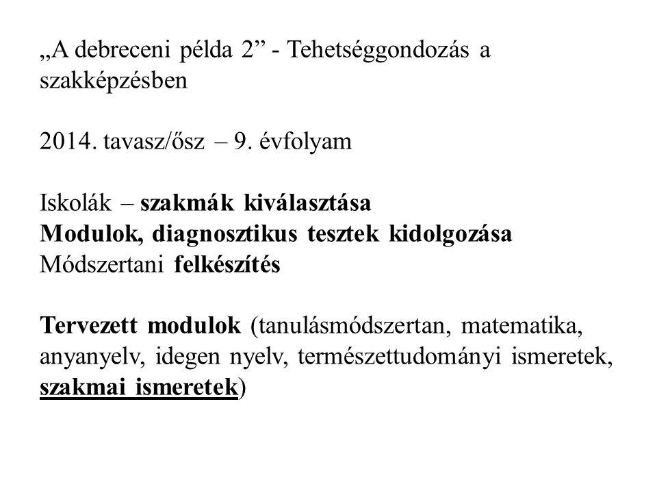 """""""A debreceni példa 2"""" - Tehetséggondozás a szakképzésben 2014. tavasz/ősz – 9. évfolyam Iskolák – szakmák kiválasztása Modulok, diagnosztikus tesztek"""
