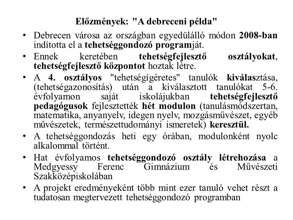 Előzmények: A debreceni példa Debrecen városa az országban egyedülálló módon 2008-ban indította el a tehetséggondozó programját.