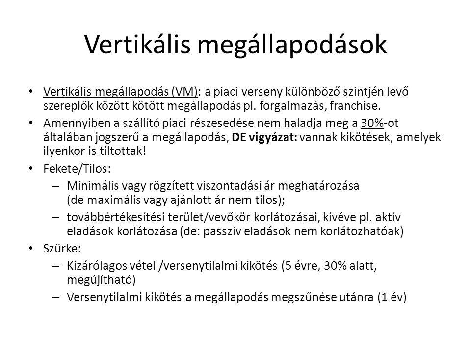 Vertikális megállapodások Vertikális megállapodás (VM): a piaci verseny különböző szintjén levő szereplők között kötött megállapodás pl. forgalmazás,