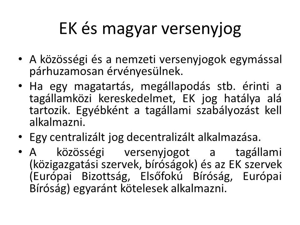 EK és magyar versenyjog A közösségi és a nemzeti versenyjogok egymással párhuzamosan érvényesülnek. Ha egy magatartás, megállapodás stb. érinti a tagá