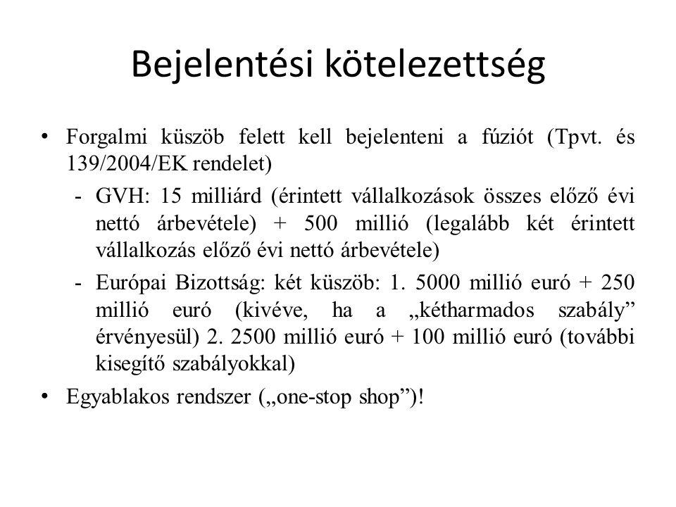 Bejelentési kötelezettség Forgalmi küszöb felett kell bejelenteni a fúziót (Tpvt. és 139/2004/EK rendelet) -GVH: 15 milliárd (érintett vállalkozások ö