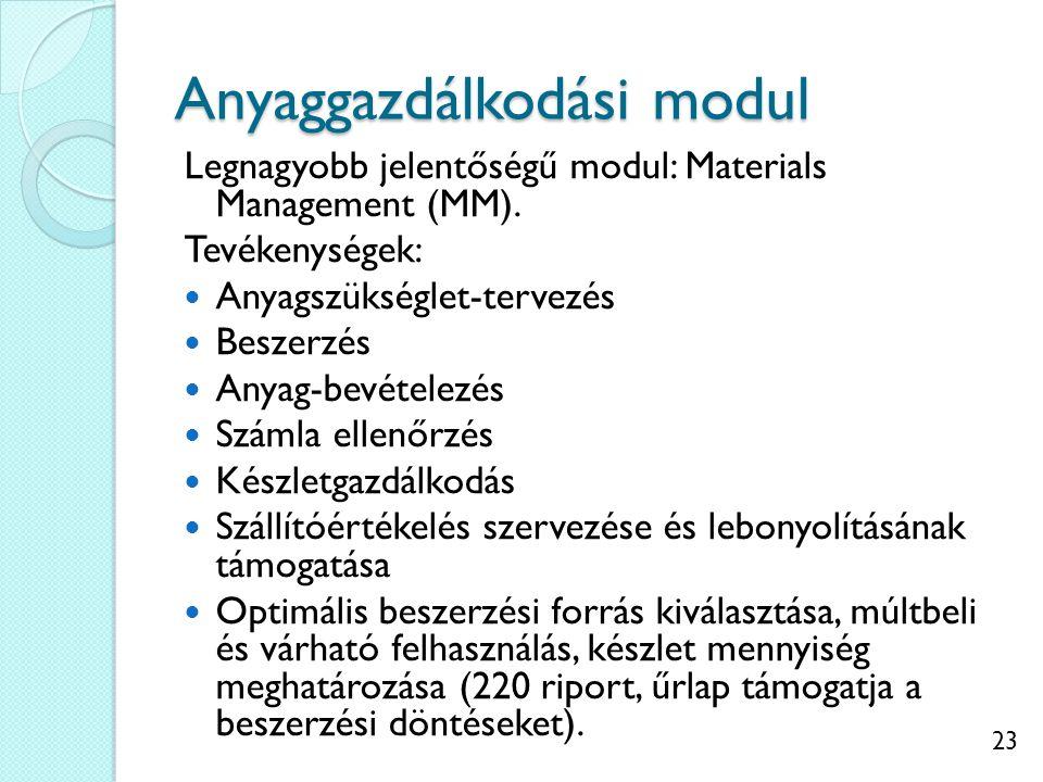 23 Anyaggazdálkodási modul Legnagyobb jelentőségű modul: Materials Management (MM).