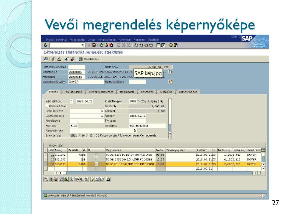 27 Vevői megrendelés képernyőképe