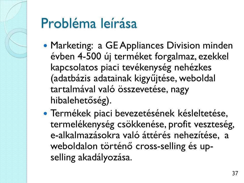 37 Probléma leírása Marketing: a GE Appliances Division minden évben 4-500 új terméket forgalmaz, ezekkel kapcsolatos piaci tevékenység nehézkes (adatbázis adatainak kigyűjtése, weboldal tartalmával való összevetése, nagy hibalehetőség).