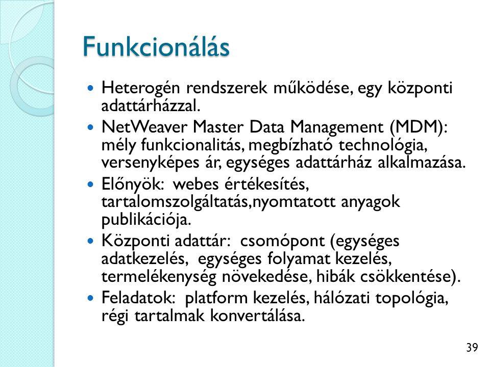 39 Funkcionálás Heterogén rendszerek működése, egy központi adattárházzal.
