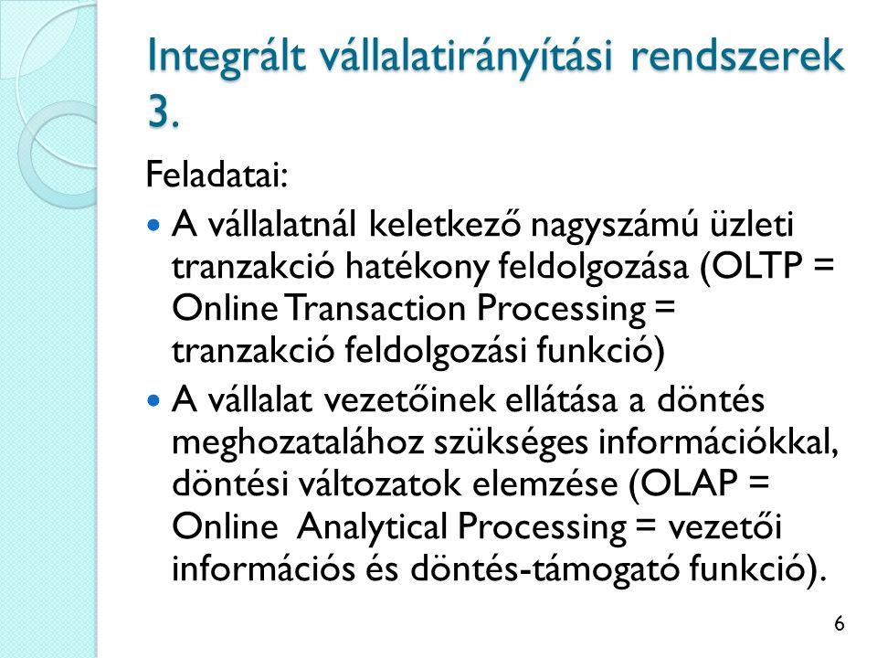 7 SAP SAP = Systems, Applications and Products in Data Processing Németországi Sap AG cég fejleszti 1972 óta, SAP R/3: 1992-től.