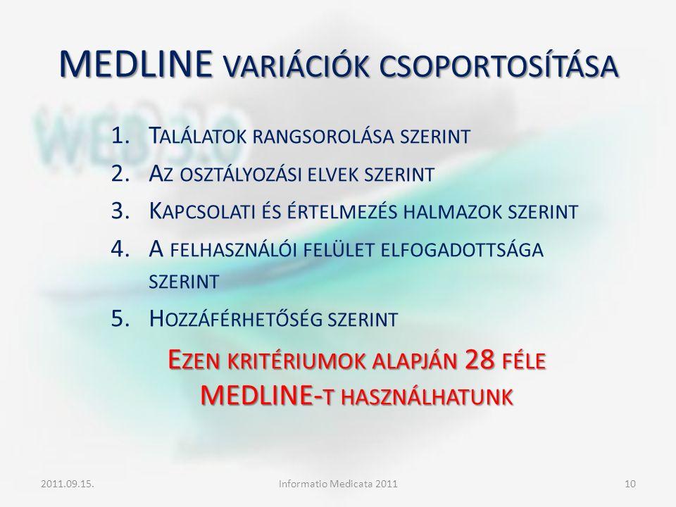 MEDLINE VARIÁCIÓK CSOPORTOSÍTÁSA 1.T ALÁLATOK RANGSOROLÁSA SZERINT 2.A Z OSZTÁLYOZÁSI ELVEK SZERINT 3.K APCSOLATI ÉS ÉRTELMEZÉS HALMAZOK SZERINT 4.A F