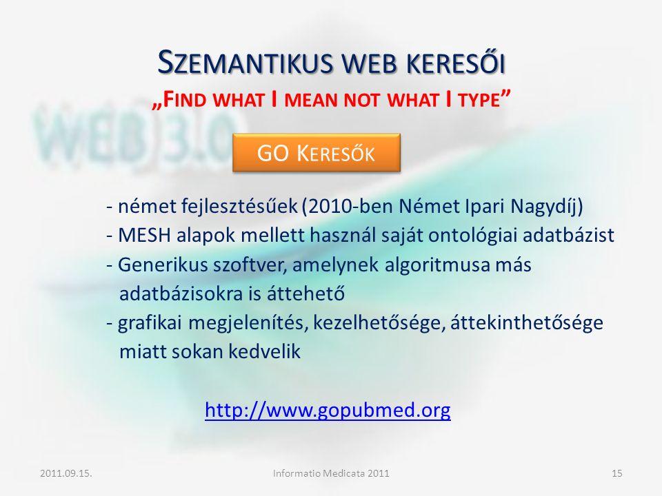 """S ZEMANTIKUS WEB KERESŐI S ZEMANTIKUS WEB KERESŐI """"F IND WHAT I MEAN NOT WHAT I TYPE """" - német fejlesztésűek (2010-ben Német Ipari Nagydíj) - MESH ala"""