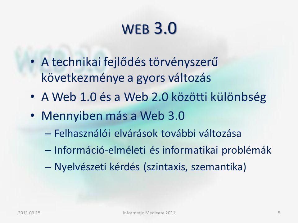 WEB 3.0 A technikai fejlődés törvényszerű következménye a gyors változás A Web 1.0 és a Web 2.0 közötti különbség Mennyiben más a Web 3.0 – Felhasznál