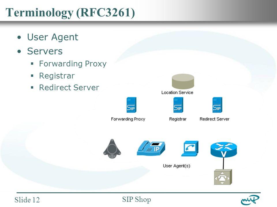 Nemzeti Információs Infrastruktúra Fejlesztési Intézet SIP Shop Slide 12 Terminology (RFC3261) User Agent Servers  Forwarding Proxy  Registrar  Redirect Server