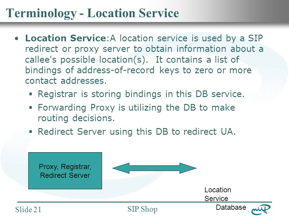 Nemzeti Információs Infrastruktúra Fejlesztési Intézet SIP Shop Slide 21 Terminology - Location Service Location Service:A location service is used by a SIP redirect or proxy server to obtain information about a callee s possible location(s).