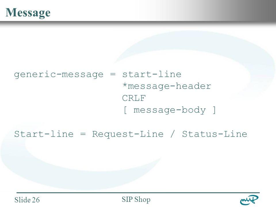 Nemzeti Információs Infrastruktúra Fejlesztési Intézet SIP Shop Slide 26 Message generic-message = start-line *message-header CRLF [ message-body ] Start-line = Request-Line / Status-Line