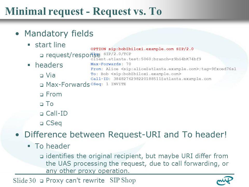 Nemzeti Információs Infrastruktúra Fejlesztési Intézet SIP Shop Slide 30 Minimal request - Request vs.