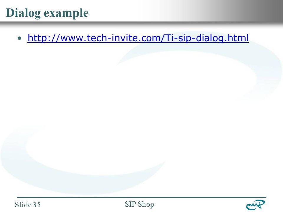 Nemzeti Információs Infrastruktúra Fejlesztési Intézet SIP Shop Slide 35 Dialog example http://www.tech-invite.com/Ti-sip-dialog.html