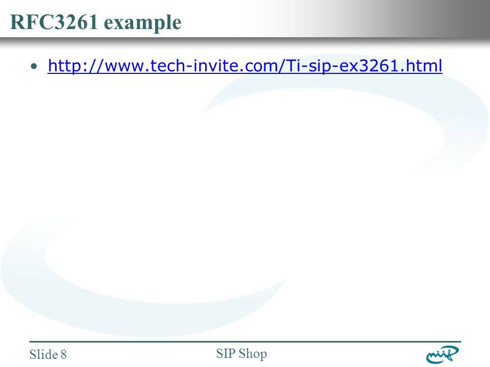 Nemzeti Információs Infrastruktúra Fejlesztési Intézet SIP Shop Slide 8 RFC3261 example http://www.tech-invite.com/Ti-sip-ex3261.html
