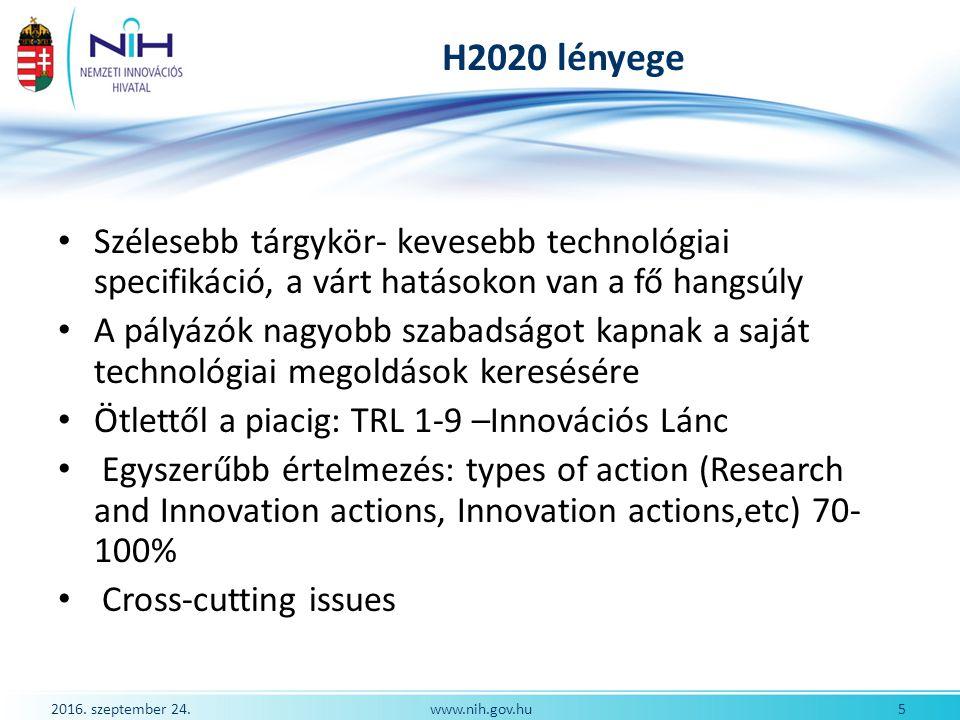 2016.szeptember 24. 6www.nih.gov.hu H2020 stratégia- 3 pillére 1.