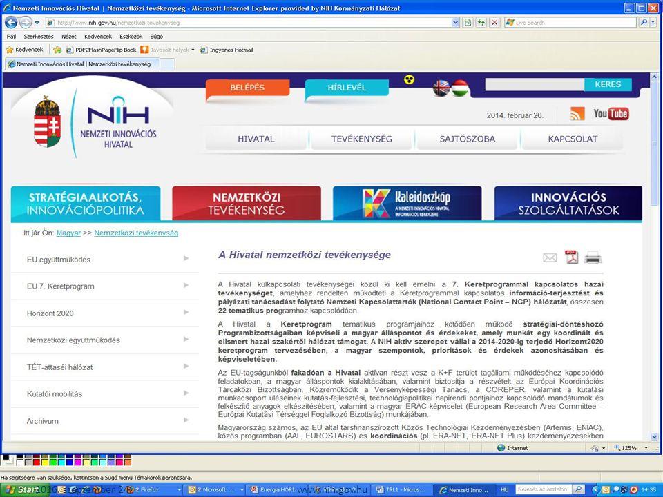 2016. szeptember 24. 19www.nih.gov.hu Innovációs lánc-TRL