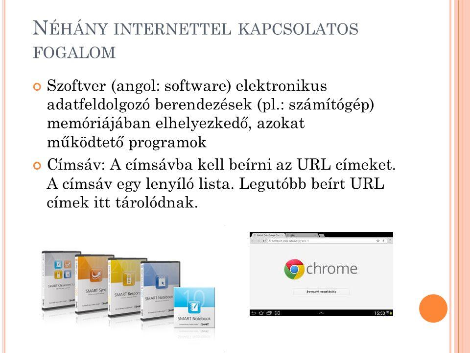 N ÉHÁNY INTERNETTEL KAPCSOLATOS FOGALOM Szoftver (angol: software) elektronikus adatfeldolgozó berendezések (pl.: számítógép) memóriájában elhelyezkedő, azokat működtető programok Címsáv: A címsávba kell beírni az URL címeket.