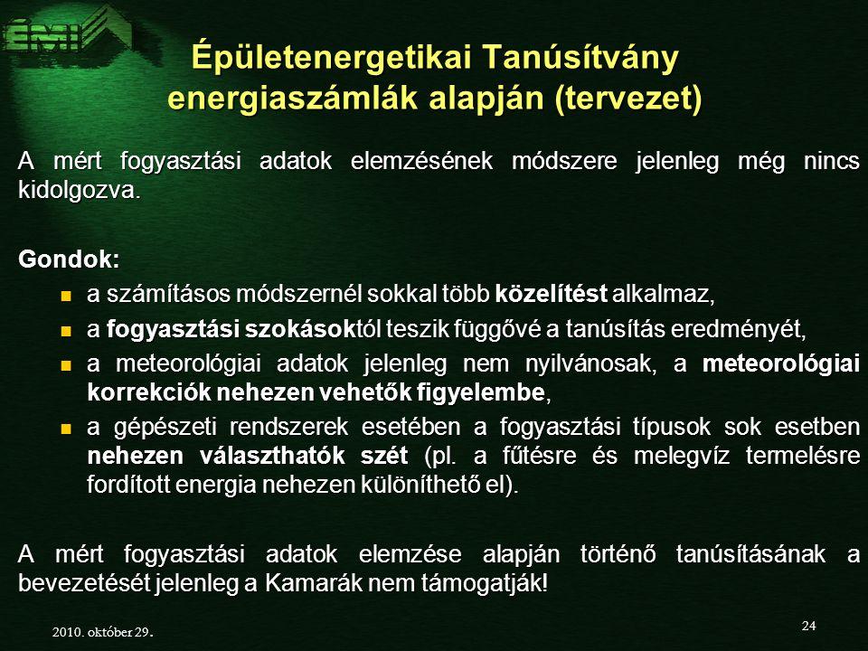 Épületenergetikai Tanúsítvány energiaszámlák alapján (tervezet) A mért fogyasztási adatok elemzésének módszere jelenleg még nincs kidolgozva.
