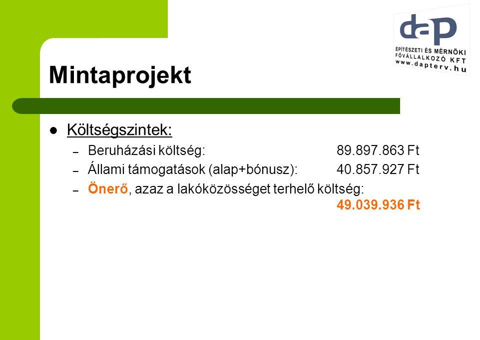 Mintaprojekt Költségszintek: – Beruházási költség:89.897.863 Ft – Állami támogatások (alap+bónusz):40.857.927 Ft – Önerő, azaz a lakóközösséget terhelő költség: 49.039.936 Ft