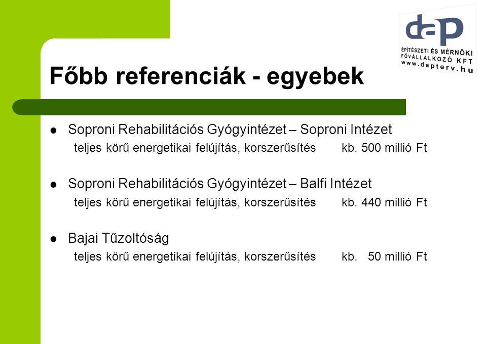 Főbb referenciák - egyebek Soproni Rehabilitációs Gyógyintézet – Soproni Intézet teljes körű energetikai felújítás, korszerűsítéskb. 500 millió Ft Sop