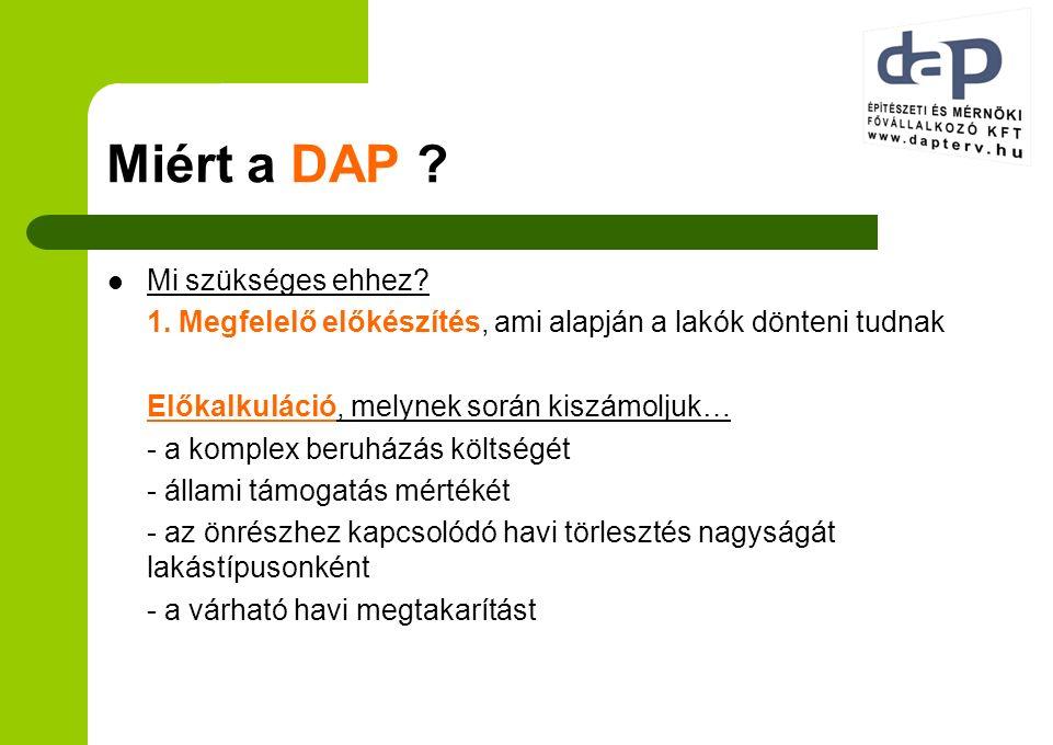Miért a DAP ? Mi szükséges ehhez? 1. Megfelelő előkészítés, ami alapján a lakók dönteni tudnak Előkalkuláció, melynek során kiszámoljuk… - a komplex b