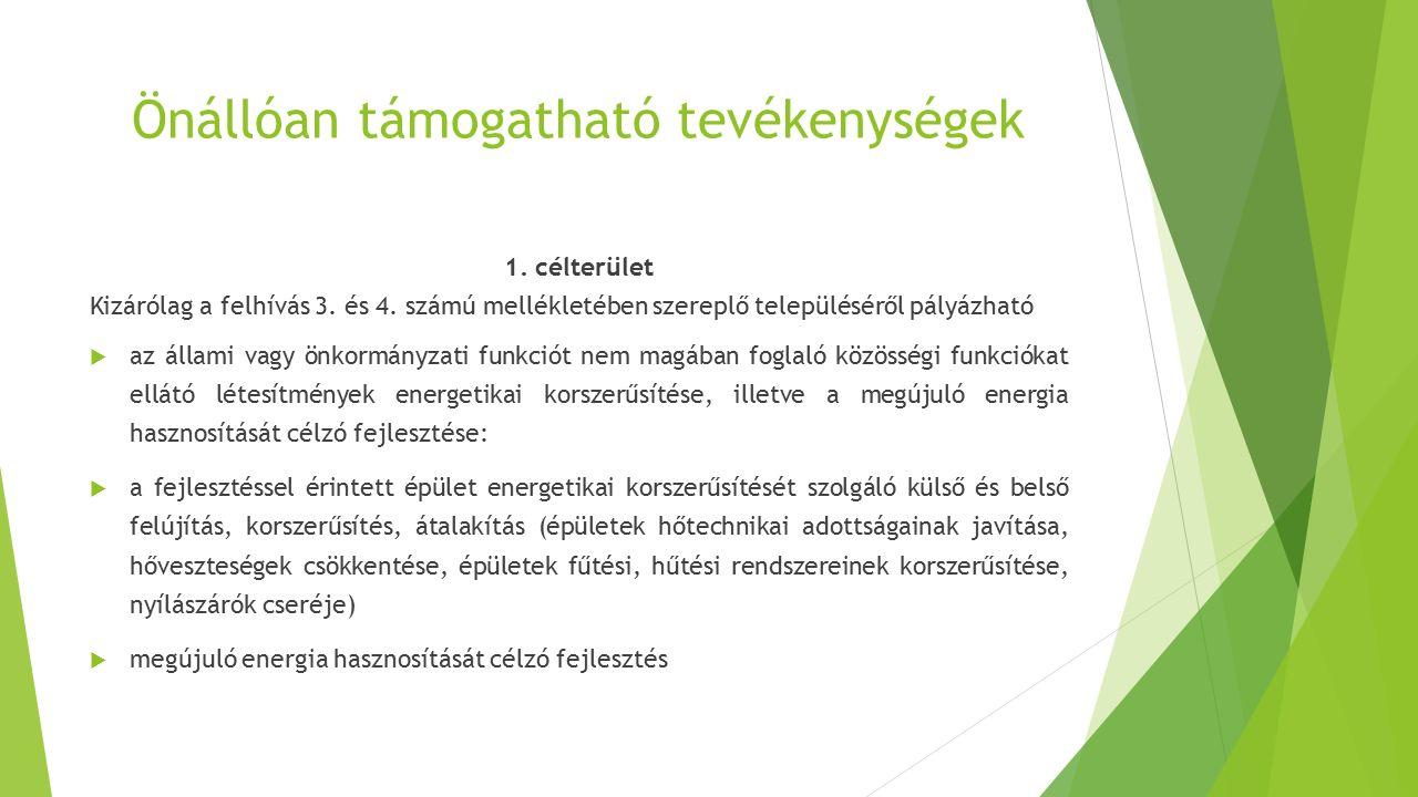 Önállóan támogatható tevékenységek 1. célterület Kizárólag a felhívás 3. és 4. számú mellékletében szereplő településéről pályázható  az állami vagy