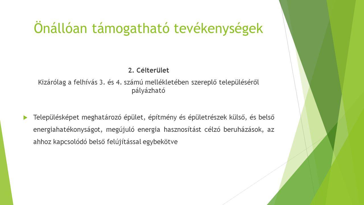 Önállóan támogatható tevékenységek 2. Célterület Kizárólag a felhívás 3. és 4. számú mellékletében szereplő településéről pályázható  Településképet