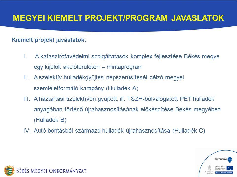 MEGYEI KIEMELT PROJEKT/PROGRAM JAVASLATOK Kiemelt projekt javaslatok: I.