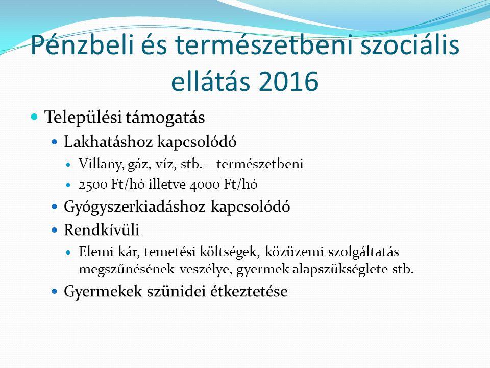 Pénzbeli és természetbeni szociális ellátás 2016 Települési támogatás Lakhatáshoz kapcsolódó Villany, gáz, víz, stb.