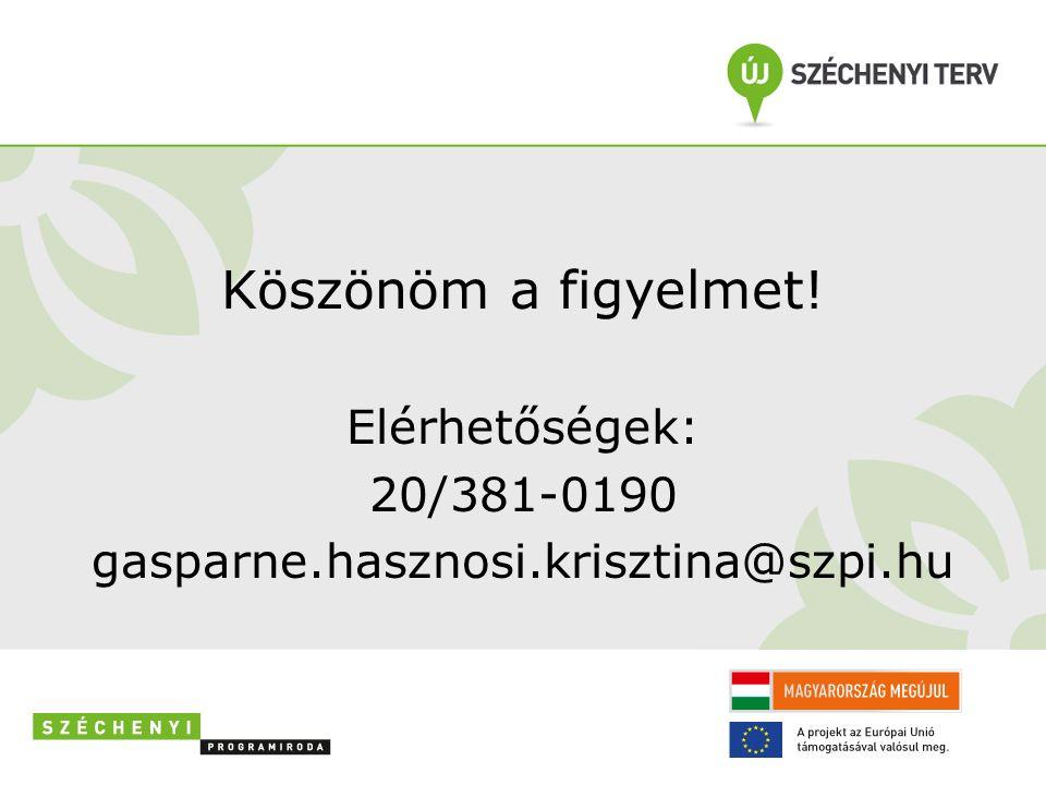 Köszönöm a figyelmet! Elérhetőségek: 20/381-0190 gasparne.hasznosi.krisztina@szpi.hu