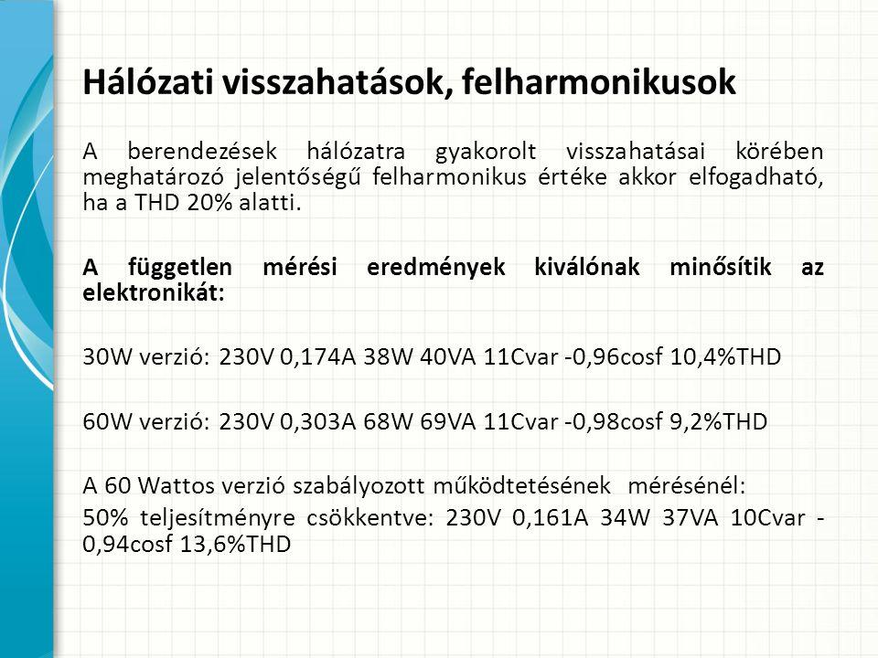 Hálózati visszahatások, felharmonikusok A berendezések hálózatra gyakorolt visszahatásai körében meghatározó jelentőségű felharmonikus értéke akkor elfogadható, ha a THD 20% alatti.