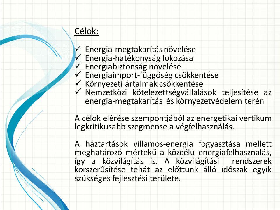 Célok: Energia-megtakarítás növelése Energia-hatékonyság fokozása Energiabiztonság növelése Energiaimport-függőség csökkentése Környezeti ártalmak csökkentése Nemzetközi kötelezettségvállalások teljesítése az energia-megtakarítás és környezetvédelem terén A célok elérése szempontjából az energetikai vertikum legkritikusabb szegmense a végfelhasználás.