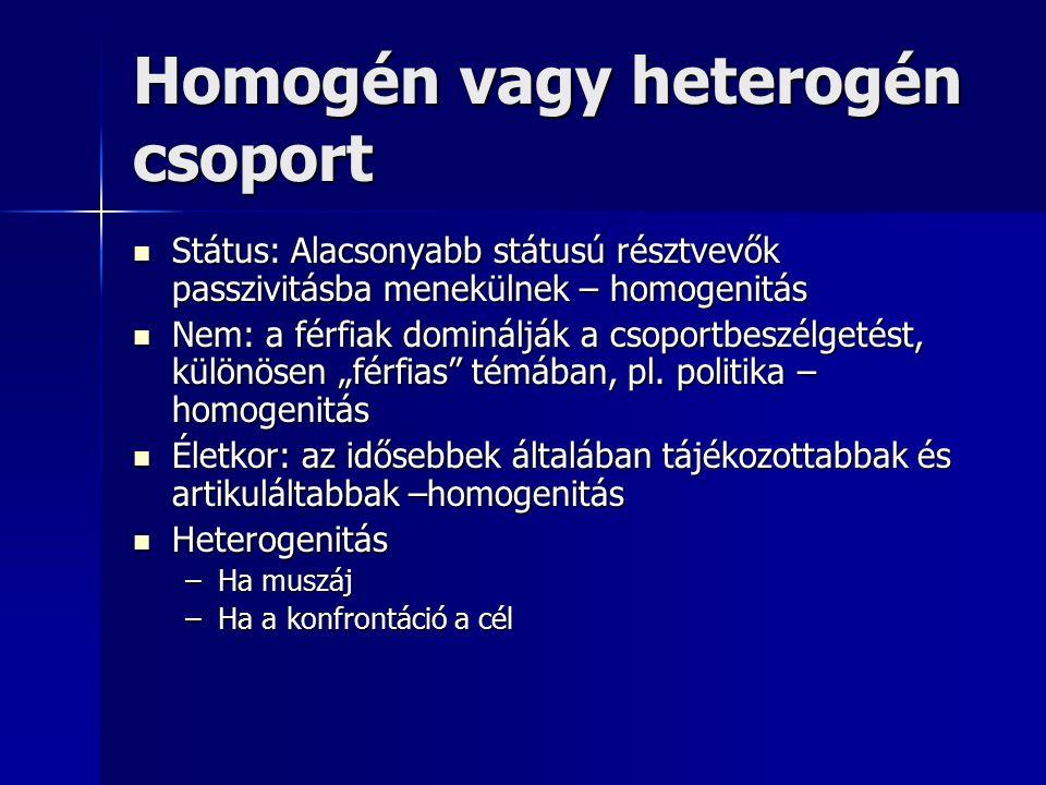 """Homogén vagy heterogén csoport Státus: Alacsonyabb státusú résztvevők passzivitásba menekülnek – homogenitás Státus: Alacsonyabb státusú résztvevők passzivitásba menekülnek – homogenitás Nem: a férfiak dominálják a csoportbeszélgetést, különösen """"férfias témában, pl."""