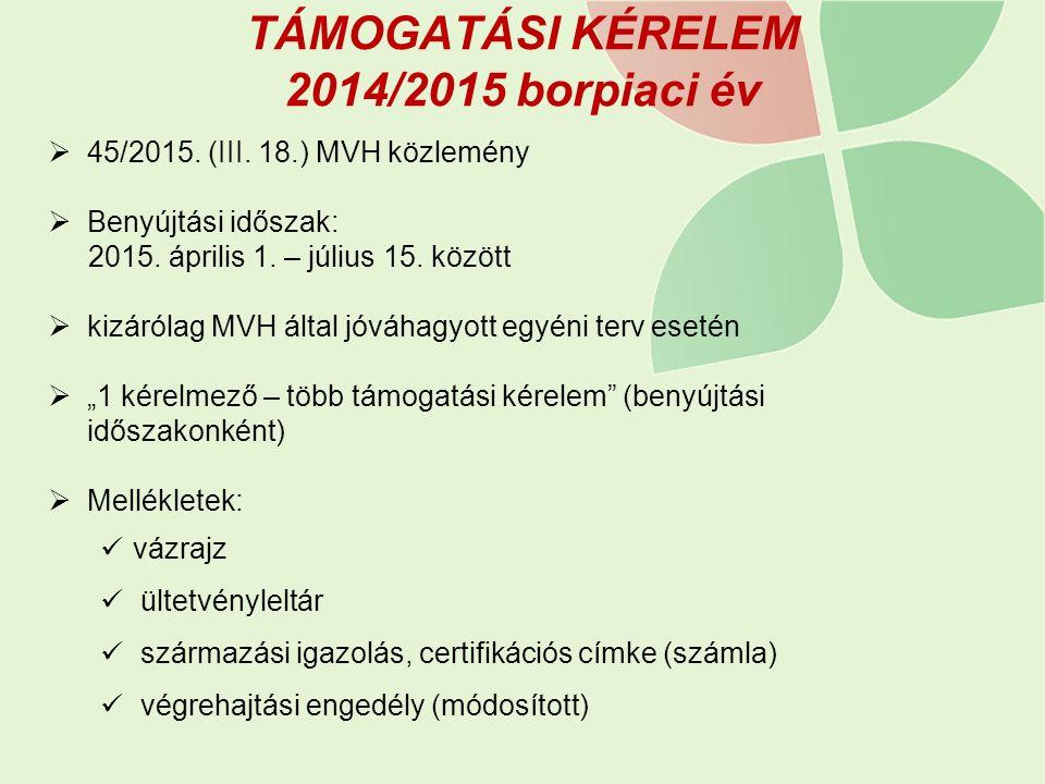 TÁMOGATÁSI KÉRELEM 2014/2015 borpiaci év  45/2015. (III. 18.) MVH közlemény  Benyújtási időszak: 2015. április 1. – július 15. között  kizárólag MV