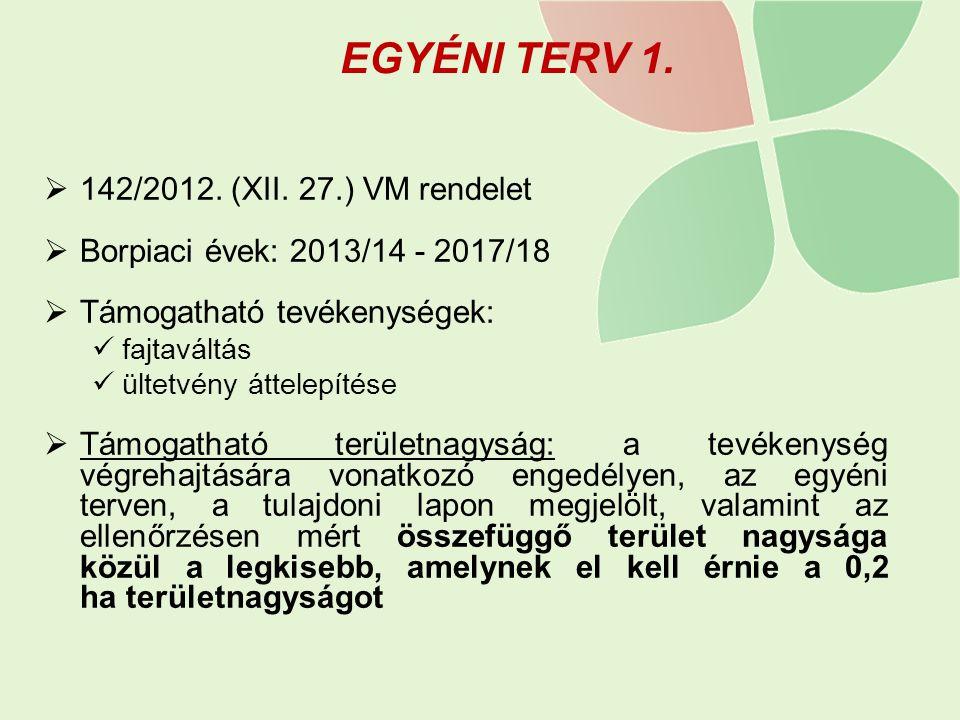 EGYÉNI TERV 1.  142/2012. (XII. 27.) VM rendelet  Borpiaci évek: 2013/14 - 2017/18  Támogatható tevékenységek: fajtaváltás ültetvény áttelepítése 