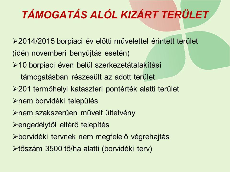 TÁMOGATÁS ALÓL KIZÁRT TERÜLET  2014/2015 borpiaci év előtti művelettel érintett terület (idén novemberi benyújtás esetén)  10 borpiaci éven belül sz