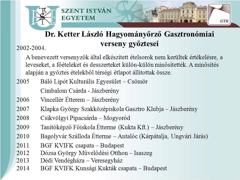 Dr. Ketter László Hagyományőrző Gasztronómiai verseny győztesei 2002-2004. A benevezett versenyzők által elkészített ételsorok nem kerültek értékelésr