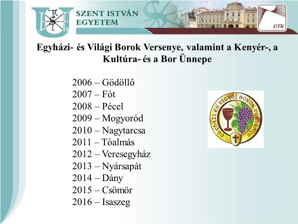 Egyházi- és Világi Borok Versenye, valamint a Kenyér-, a Kultúra- és a Bor Ünnepe 2006 – Gödöllő 2007 – Fót 2008 – Pécel 2009 – Mogyoród 2010 – Nagyta