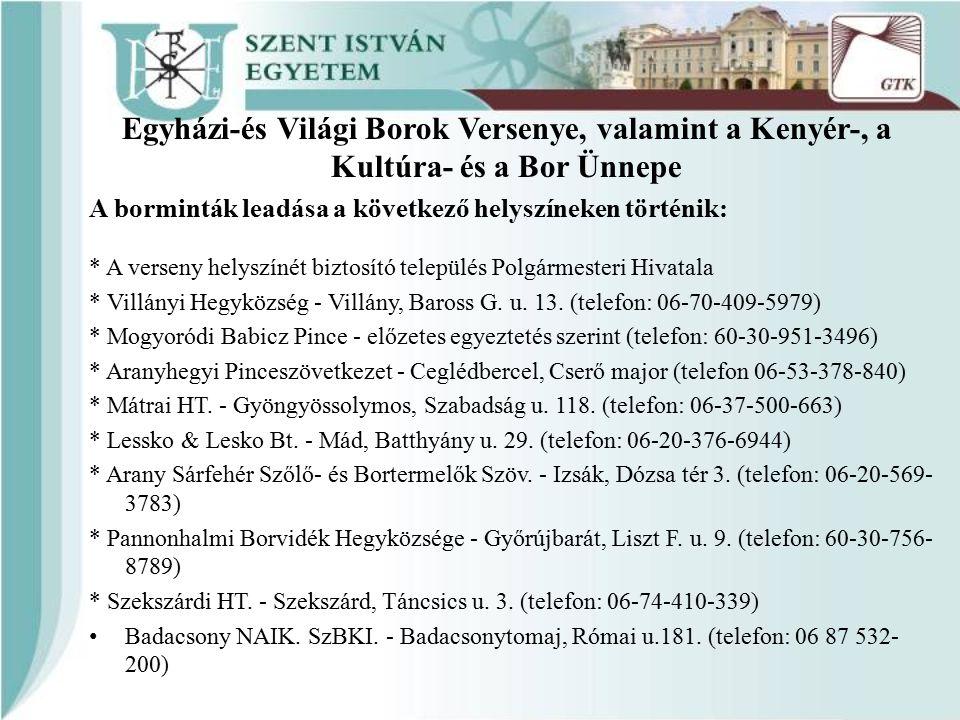 A borminták leadása a következő helyszíneken történik: * A verseny helyszínét biztosító település Polgármesteri Hivatala * Villányi Hegyközség - Villány, Baross G.
